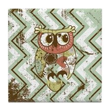 Distressed Chevron Owl Tile Coaster