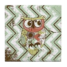 Distressed Chevron Owl Tile Coaster