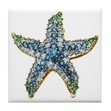 Blue Starfish Vintage Costume Jewelry Tile Coaster