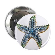 "Blue Starfish Vintage Costume Jewelry 2.25"" Button"