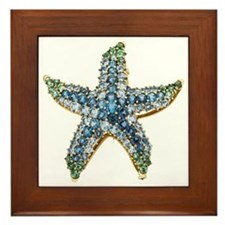 Blue Starfish Vintage Costume Jewelry  Framed Tile