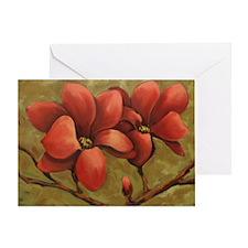 red blooms CherylJames Greeting Card