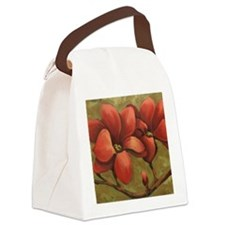 red blooms CherylJames Canvas Lunch Bag