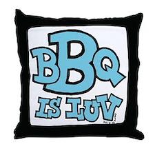 bbqisluv_BLUE Throw Pillow