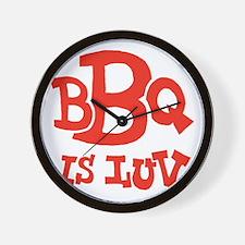 bbqisluv_red_REVERSE Wall Clock