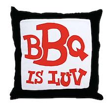 bbqisluv_red_REVERSE Throw Pillow