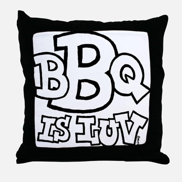bbqisluv_BW Throw Pillow