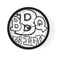 bbqisluv_BW Wall Clock