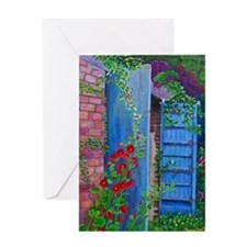 Red Hollyhocks Greeting Card