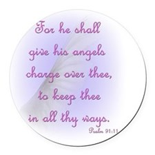 For He Shall Give his Angels Char Round Car Magnet