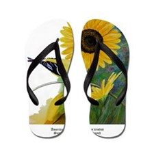 Goldfinch and Sunflower Flip Flops