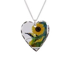 Goldfinch and Sunflower Necklace Heart Charm