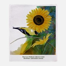 Goldfinch and Sunflower Throw Blanket