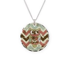 Distressed Chevron Owl Necklace