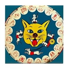 Vintage Cat Mouse Toy Game  Tile Coaster