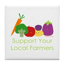 """Support Your Local Farmers"" Tile Coaster"