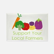 """Support Your Local Farmers"" Rectangle Magnet"