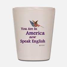 you are in america speak english Shot Glass