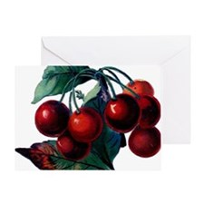 Cherry Ripe Cherries Fruit Retro Vin Greeting Card