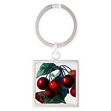 Cherry Ripe Cherries Fruit Retro V Square Keychain