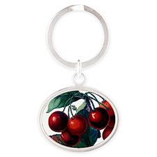 Cherry Ripe Cherries Fruit Retro Vin Oval Keychain
