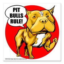 "pitbull Square Car Magnet 3"" x 3"""
