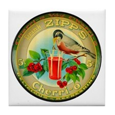 Cherry Cherrio Bird Vintage Soda Pop  Tile Coaster