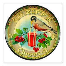 "Cherry Cherrio Bird Vint Square Car Magnet 3"" x 3"""