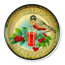 Cherry Cherrio Bird Vintage Soda  Round Car Magnet