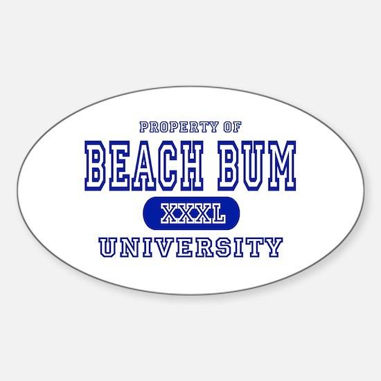 Beach Bum University Oval Decal
