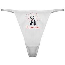 Panda Bear Valentine Classic Thong