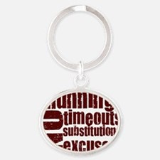 running burgundy Oval Keychain