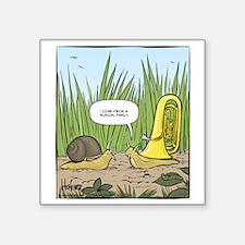 "Musical Snail Final Square Sticker 3"" x 3"""