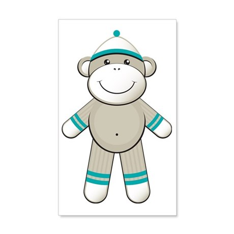 Turquoise Sock Monkey 20x12 Wall Decal