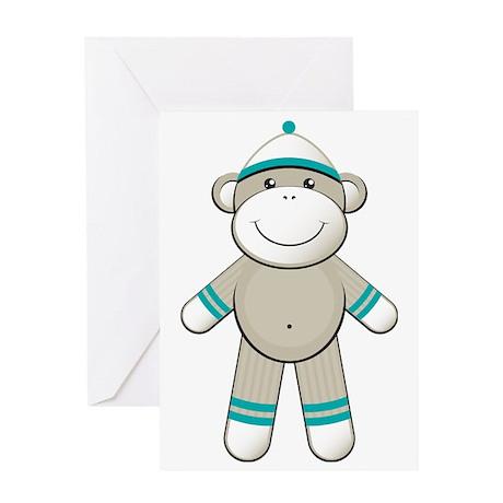 Turquoise Sock Monkey Greeting Card