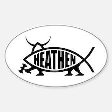 Heathen Fish Oval Bumper Stickers