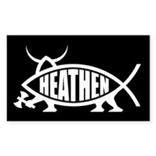 Heathen Fish Rectangle Bumper Stickers
