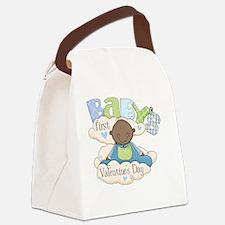 babys first valentine black boy  Canvas Lunch Bag