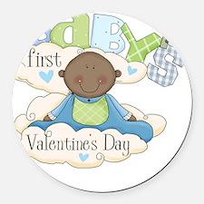babys first valentine black boy  Round Car Magnet