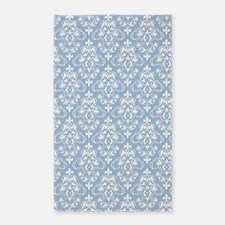 Cerulean Blue & White Damask #36 3'x5' Area Rug