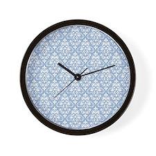 Cerulean Blue & White Damask #36 Wall Clock