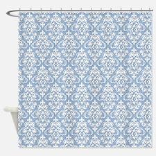 Cerulean Blue & White Damask #36 Shower Curtain