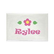 "Pink Daisy - ""Rylee"" Rectangle Magnet"
