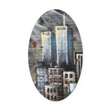 Twin Towers graff II Oval Car Magnet