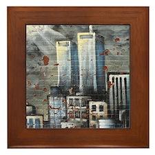 Twin Towers graff II Framed Tile