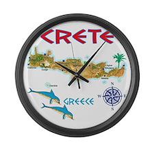 crete_t_Shirt_maP Large Wall Clock