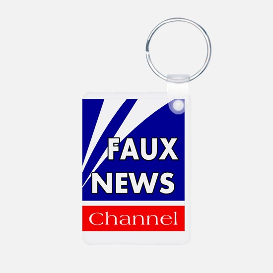 faux news channel white Keychains