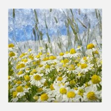 Painted Wild Daisies Tile Coaster