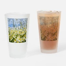 Painted Wild Daisies Drinking Glass