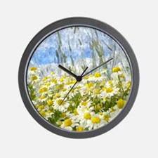 Painted Wild Daisies Wall Clock